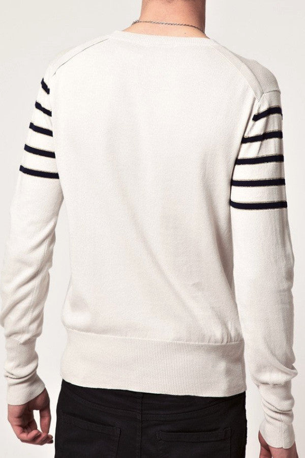 UNCONDITIONAL Dirty white cotton striped jumper with SAILOR BOY embroidery