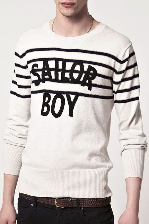 7d3b13752313 ... UNCONDITIONAL Ivory cashmere silk jumper with SAILOR BOY embroidery ...