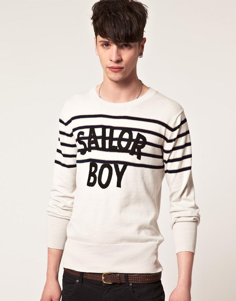 UNCONDITIONAL MILITARY AND RED 'SOLDIER BOY' MERINO CREW NECK SWEATER