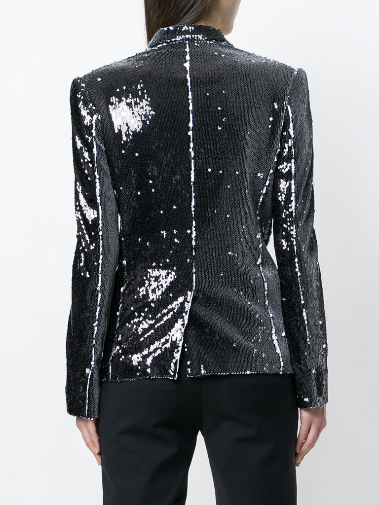 UNCONDITIONAL 2018 Black | White combable sequin one button jacket