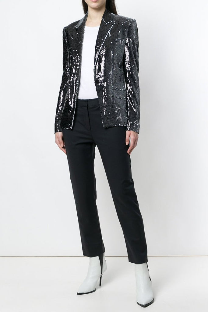 UNCONDITIONAL SS18 Black | White combable sequin one button jacket wjk100be