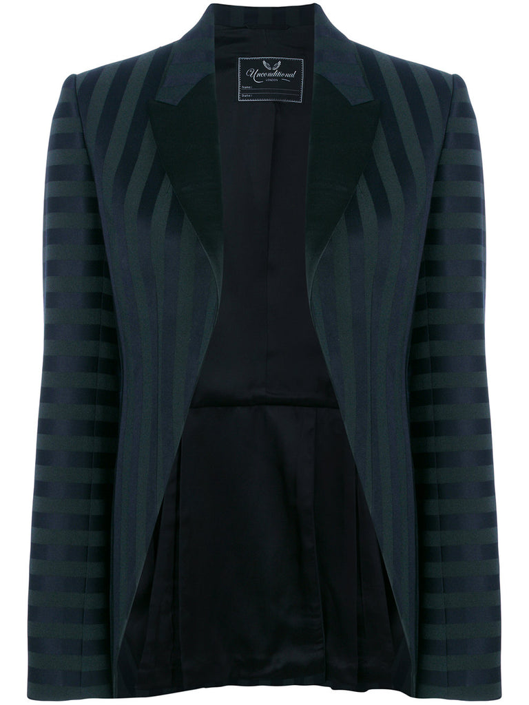 UNCONDITIONAL AW18 Emerald | Black striped cutaway tuxedo tailcoat