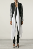 UNCONDITIONAL Black Cutaway jacket with white lace sleeves & silk inner drape