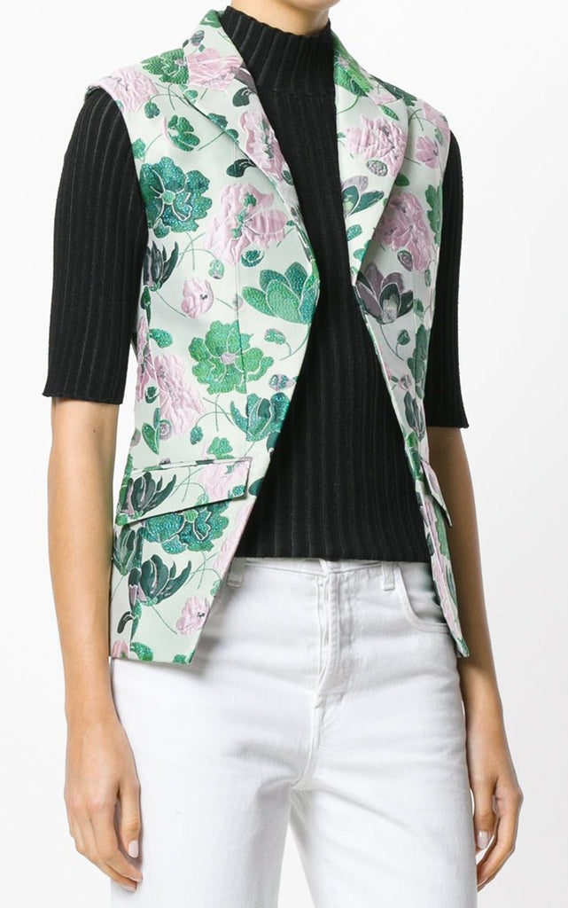 UNCONDITIONAL SS18 Floral jacquard sleeveless cutaway waistcoat