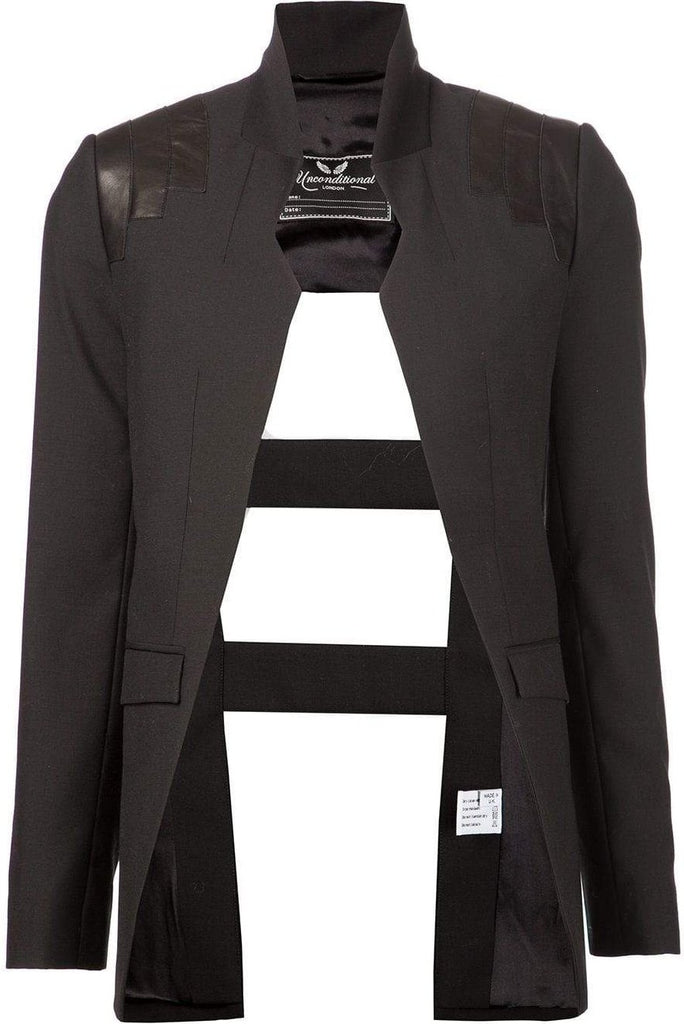 UNCONDITIONAL Black matt leather shouldered cage back jacket.