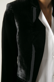 UNCONDITIONAL AW18 Black silk velvet cutaway jacket with silk open back