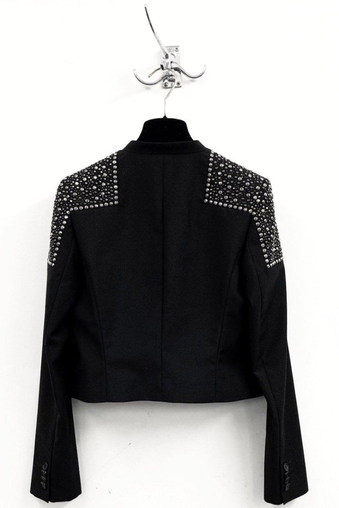 UNCONDITIONAL SS19 black bolero jacket with anthracite shoulders