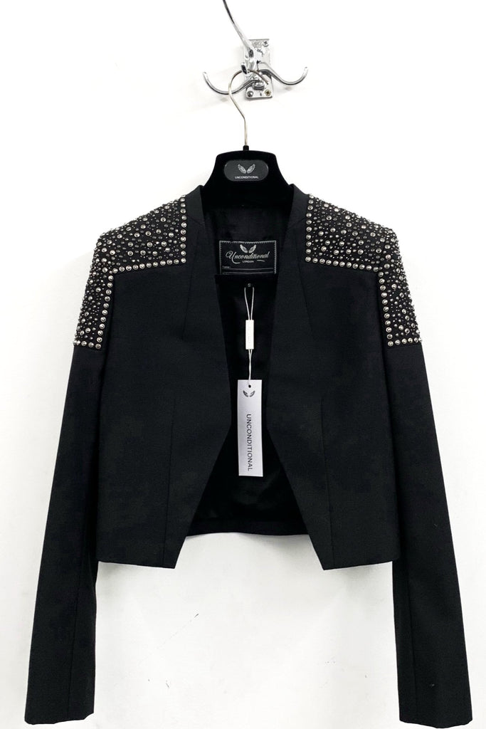 UNCONDITIONAL AW19 black bolero jacket with anthracite shoulders