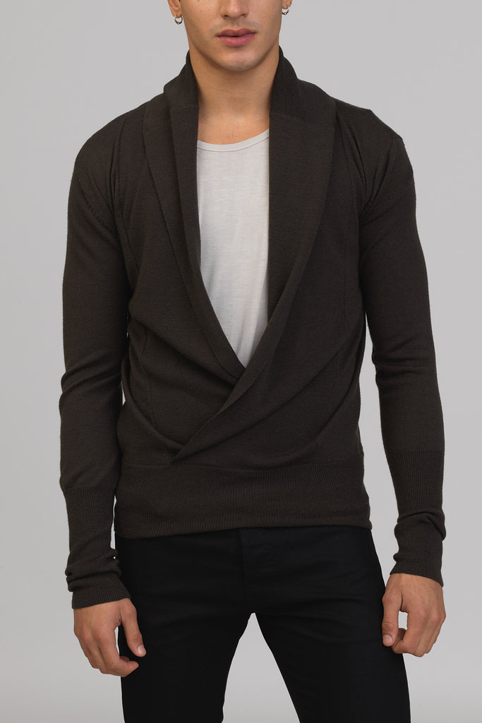 UNCONDITIONAL Dark Military wrap over jumper with foldover ribbed collar.