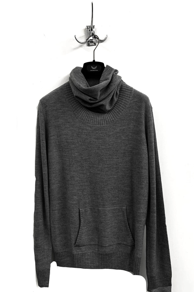 UNCONDITIONAL ANTHRA GREY SEMI DETACHABLE FUNNEL NECK SWEATER