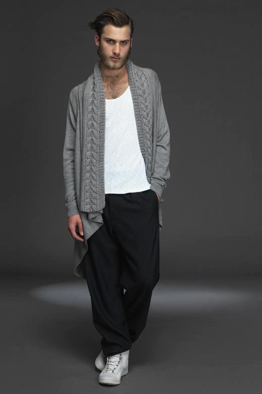 UNCONDITIONAL  FLANNEL drape BLANKET cardigan with BLACK hand knit collar
