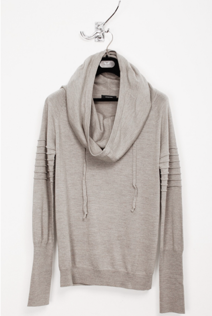 UNCONDITIONAL Stone Greige funnel hoodie jumper with arm ribs