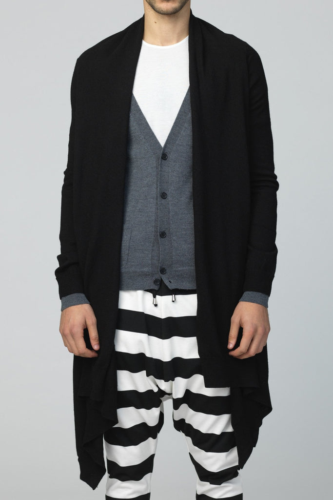 UNCONDITIONAL AW18 Black and slate double front drape scarf cardigan.
