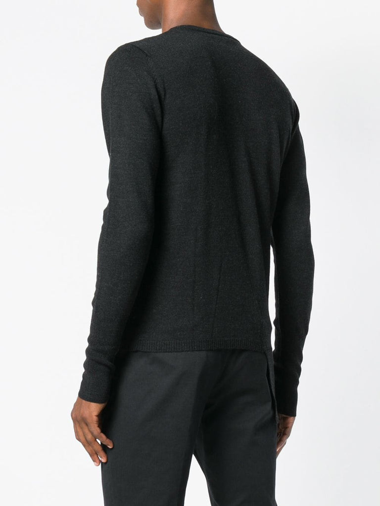 UNCONDITIONAL ANTHRA CREW NECK SWEATER WITH ASYMMETRIC FIN