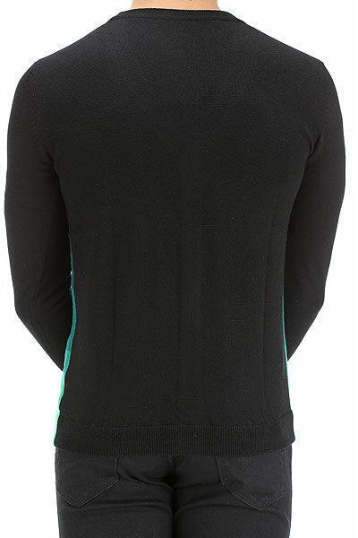 UNCONDITIONAL black merino cardigan with green gradient stripes.