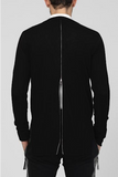 UNCONDITIONAL black baxk zip tail cardigan with inserted zip detailing