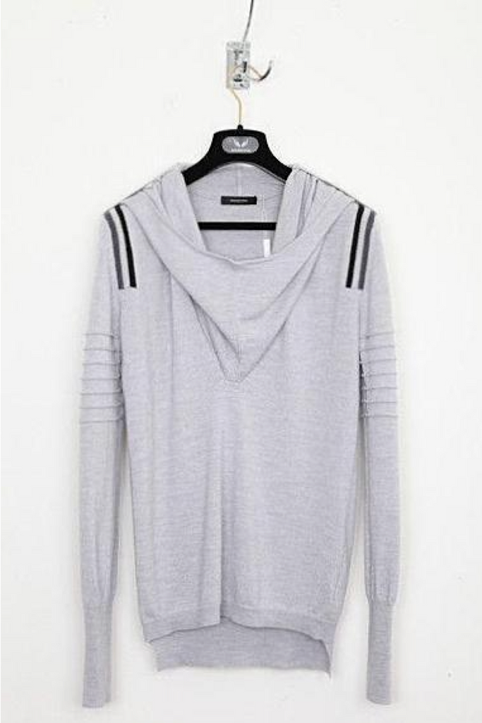 UNCONDITIONAL Silver ghost hoodie with striped epaulettes and arm ribs.
