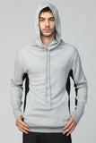 UNCONDITIONAL SLOUCHY POCKET MERINO WOOL HOODIE IN GREY AND BLACK