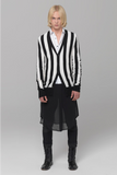 UNCONDITIONAL AW19 4 ply Black and Ivory vertical striped merino cardigan.