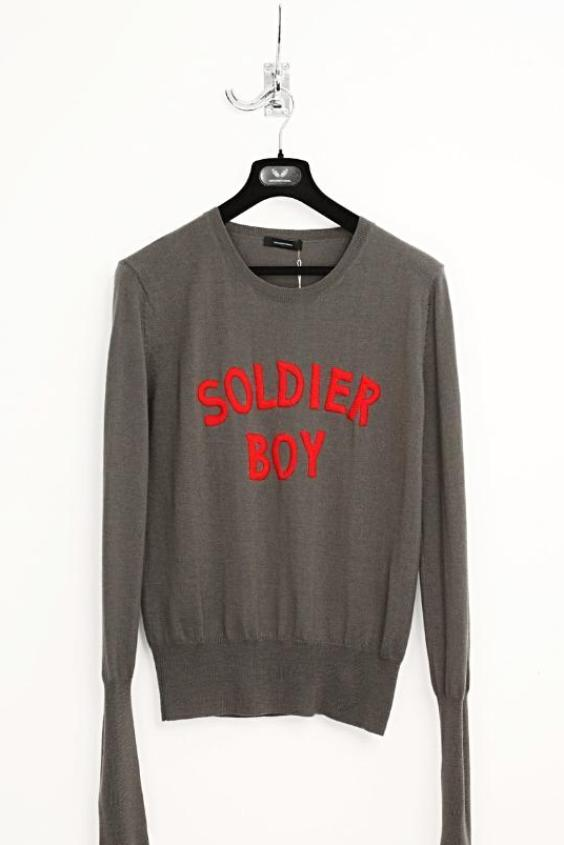 UNCONDITIONAL Army | Red 'SOLDIER BOY' MERINO CREW NECK SWEATER