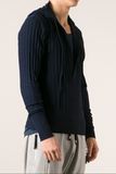 UNCONDITIONAL Midnight blue merino ribbed plunge front jumper