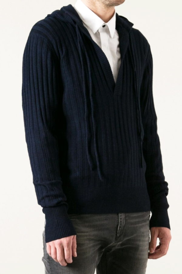 UNCONDITIONAL Midnight blue merino ribbed high plunge hooded sweater