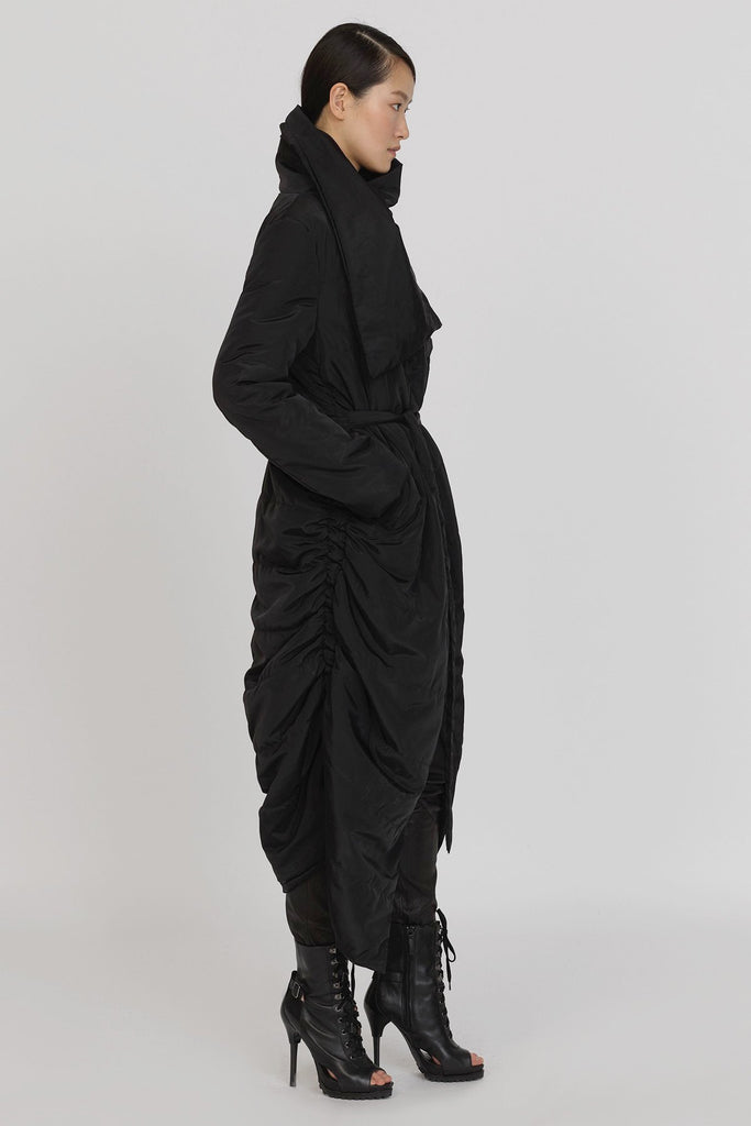 UNCONDITIONAL Black sculptural chrysalis cocoon quilted duvet coat
