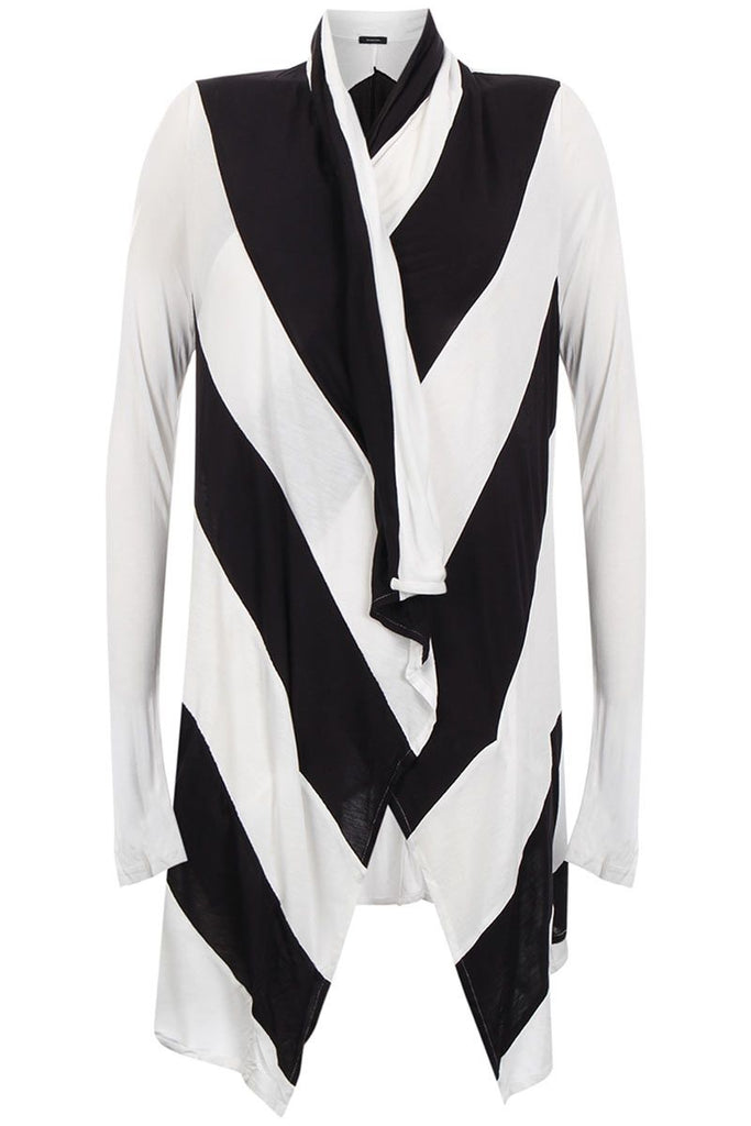 UNCONDITIONAL black and white striped panelled drape cardigan
