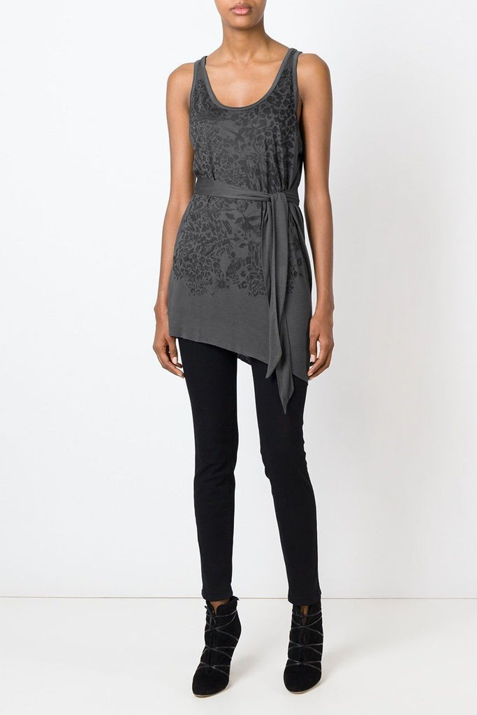 UNCONDITIONAL grey  tunic vest with black leopard flower print