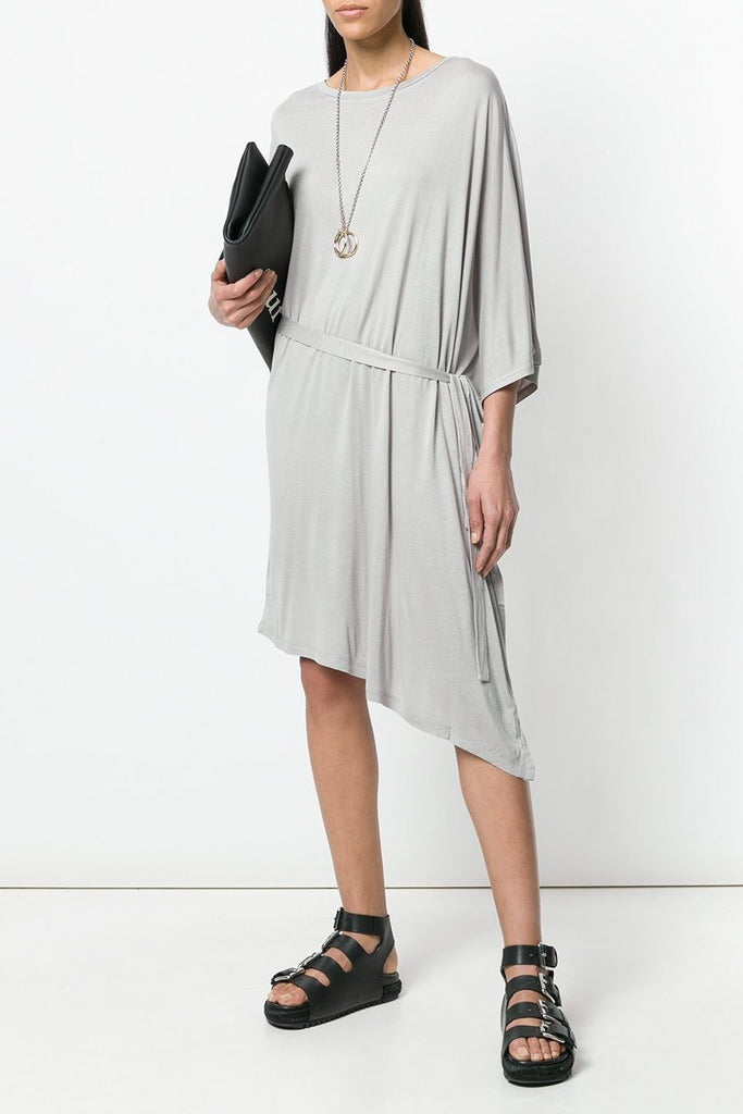 UNCONDITIONAL SS18 Stone rayon jersey asymmetric fin dress
