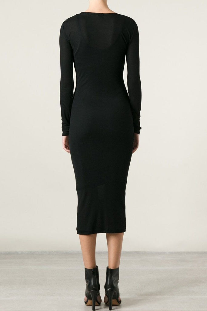 UNCONDITIONAL BLACK RAYON RIB LONG SLEEVED DRESS