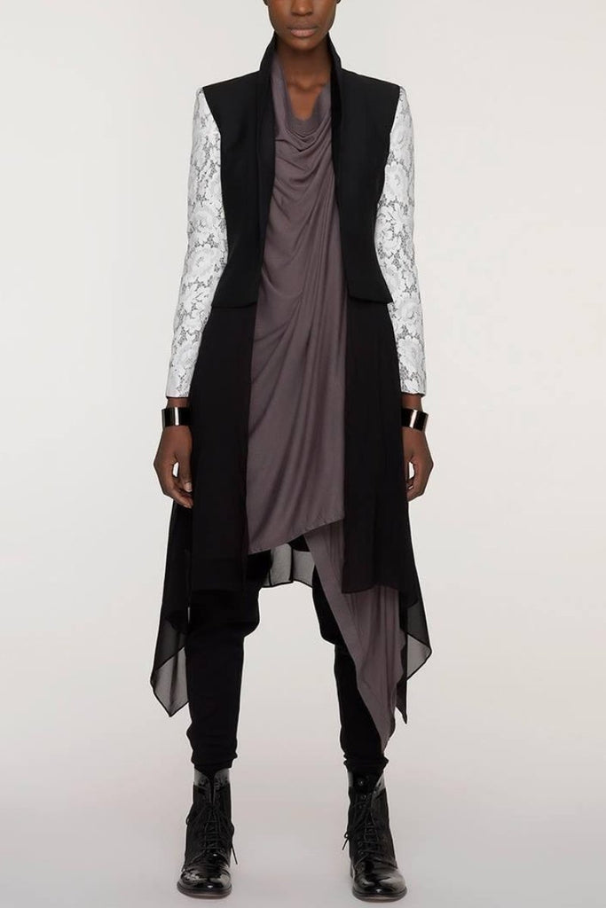 UNCONDITIONAL SS18 Black rayon long drape border cardigan.
