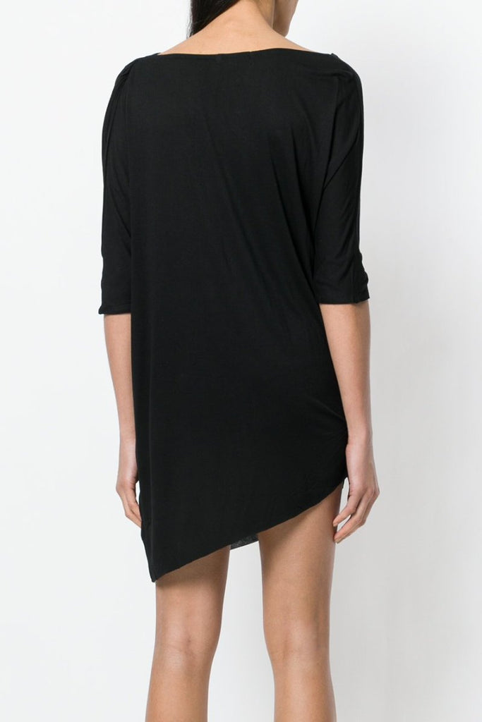 UNCONDITIONAL SS18 Black rayon 3/4 sleeved asymmetric dress | tunic