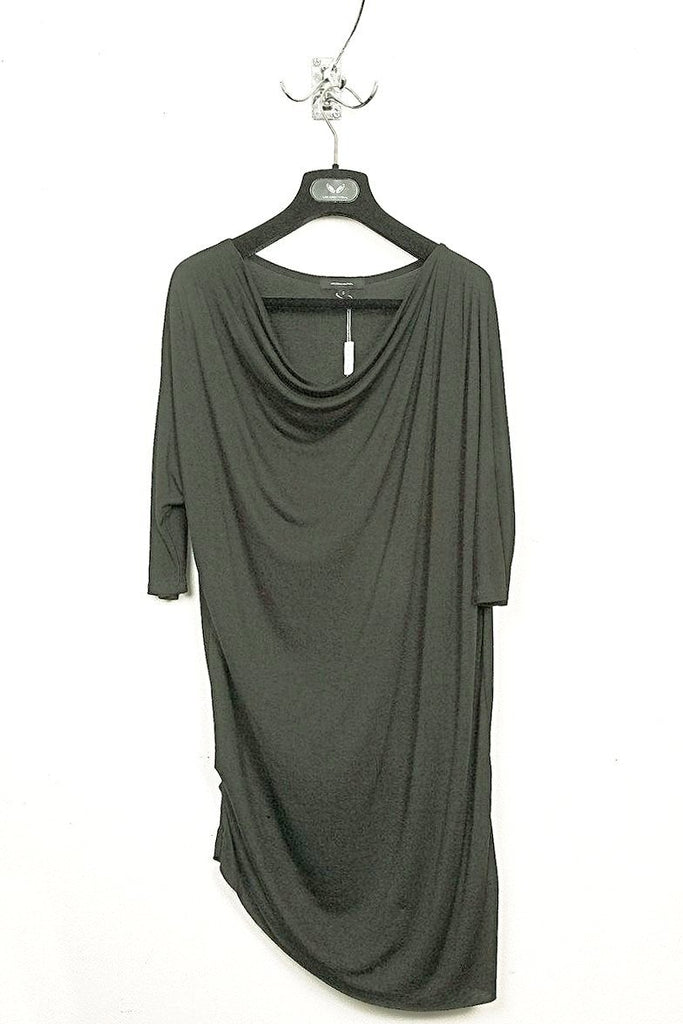 UNCONDITIONAL SS18 MIlitary rayon 3/4 sleeved asymmetric dress | tunic