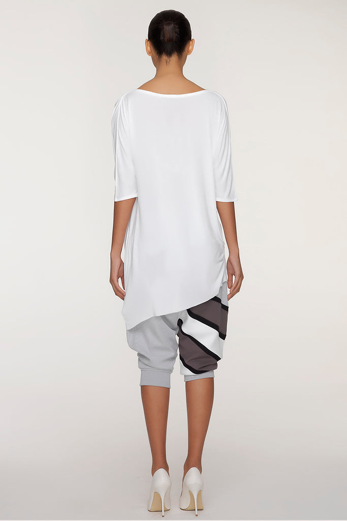 UNCONDITIONAL SS19 White rayon 3/4 sleeved asymmetric dress | tunic