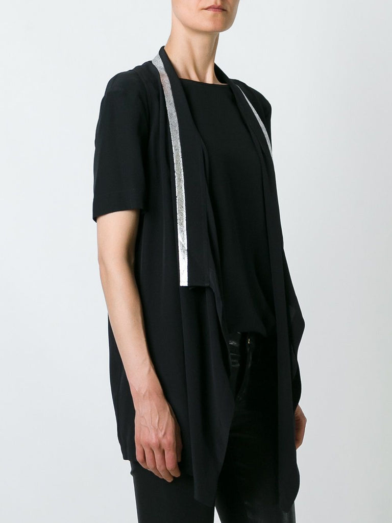 UNCONDITIONAL Silk crepe black and gold draped waistcoat layer blouse