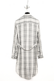 UNCONDITIONAL Off White | Black check long ladies back strap tail shirt