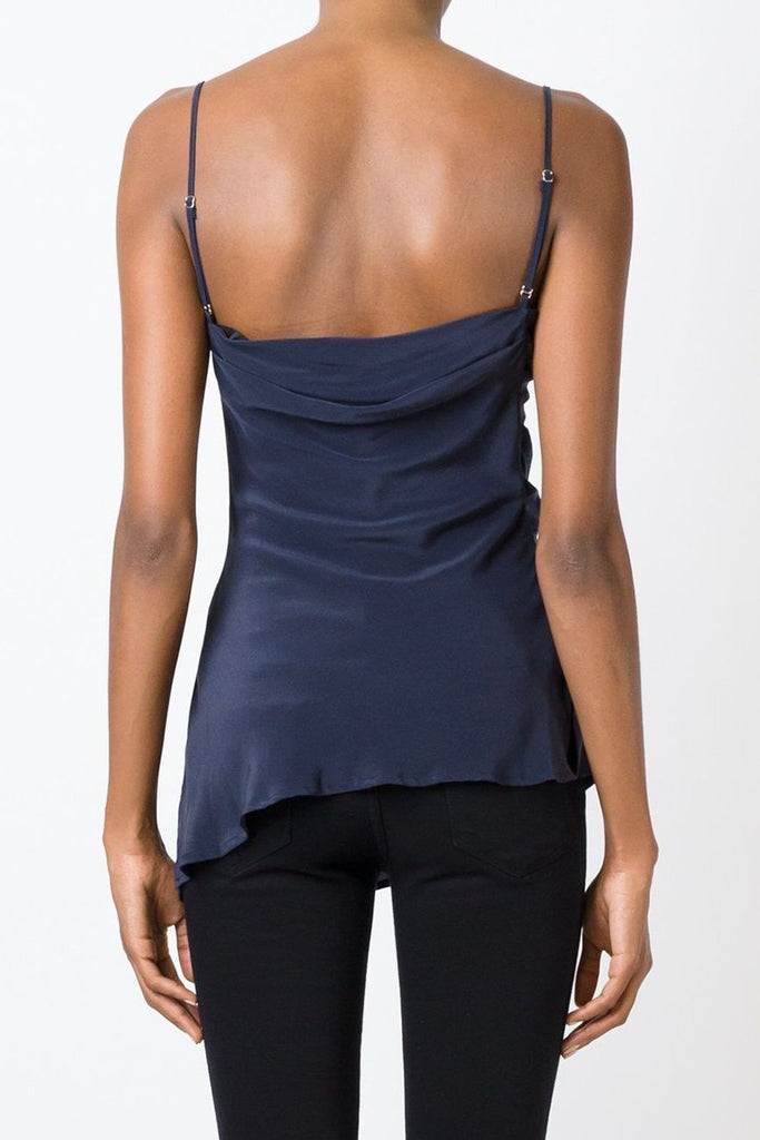 UNCONDITIONAL Midnight silk crepe draped camisole