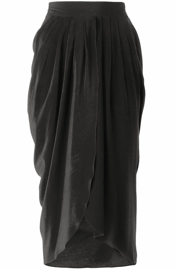 UNCONDITIONAL SS18 BLACK LIGHT SILK CREPE TULIP SKIRT