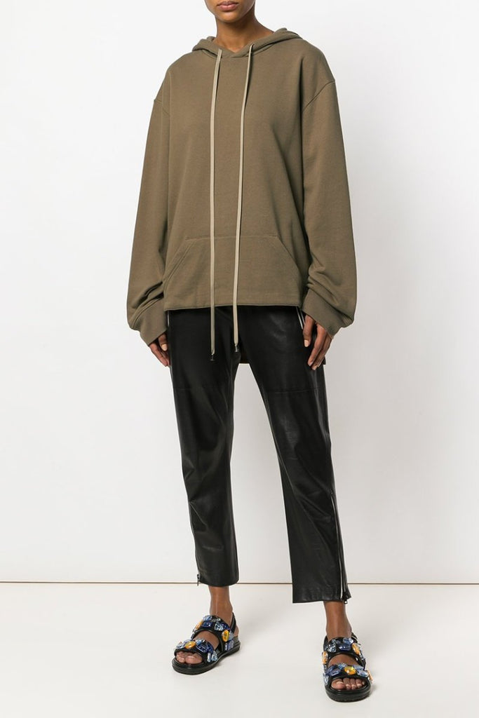 UNCONDITIONAL AW18 Ladies Caramel drawstring hoodie with back tail.