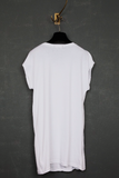 UNCONDITIONAL Optical white unisex external seam long tank top.