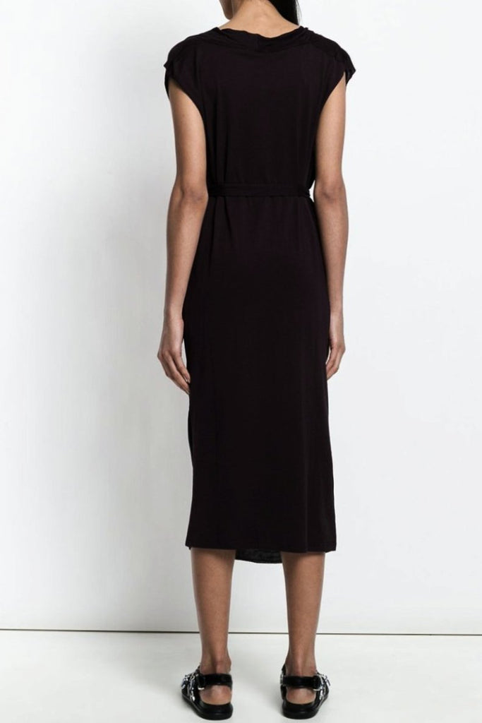 UNCONDITIONAL SS18 Black jersey sleeveless cowl neck dress.