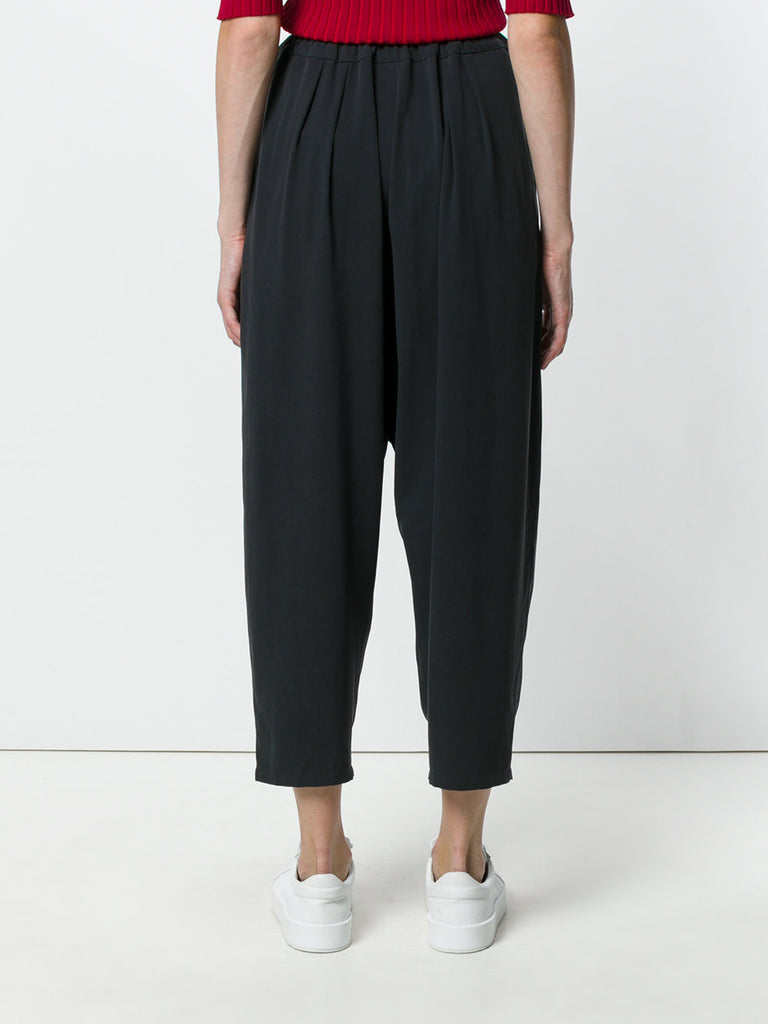 UNCONDITIONAL SS18 Black washed silk Speilberg cocoon trousers