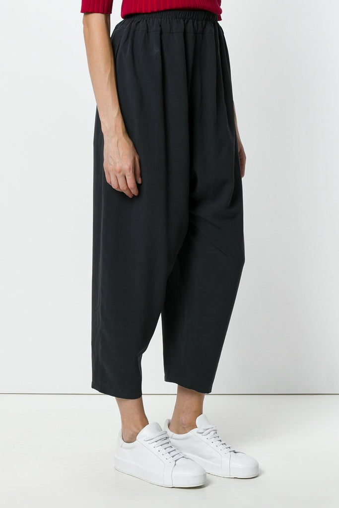 UNCONDITIONAL Black matt washed silk Speilberg cocoon trousers