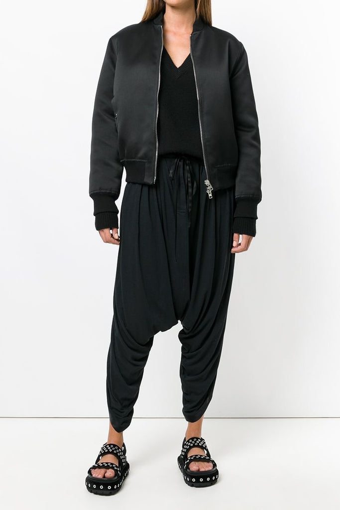 UNCONDITIONAL Black  jersey harem petal pants with silk trims