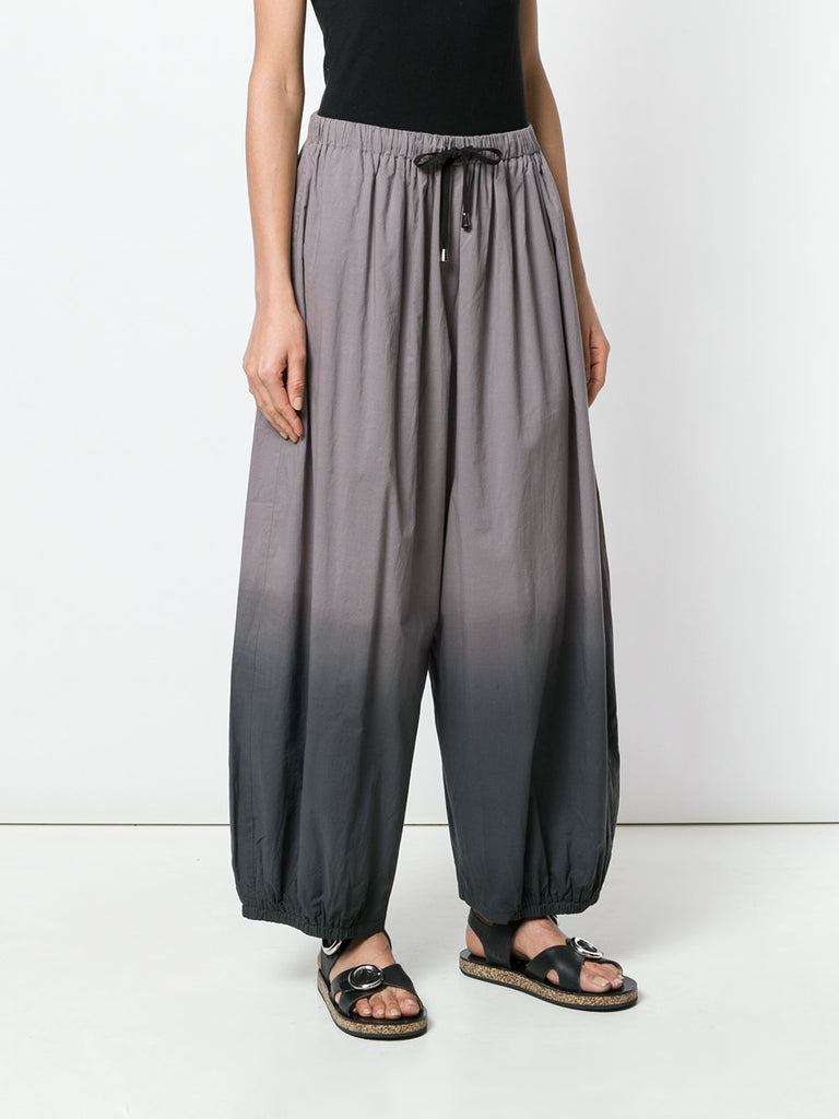 UNCONDITIONAL SS19 TAUPE | BLACK DIP-DYED VOILE COCOON TROUSERS