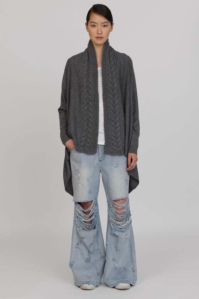 UNCONDITIONAL 'Noise' GREY Drape blanket cardigan with handknit collar
