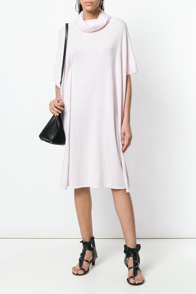 UNCONDITIONAL SS18 Camelia PInk merino wool knitted draped polo neck dress.
