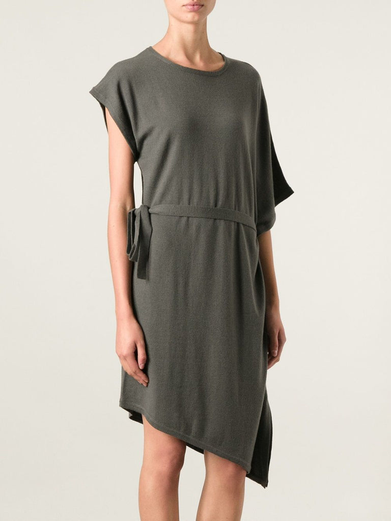 UNCONDITIONAL Olive merino knit asymetrical fin dress