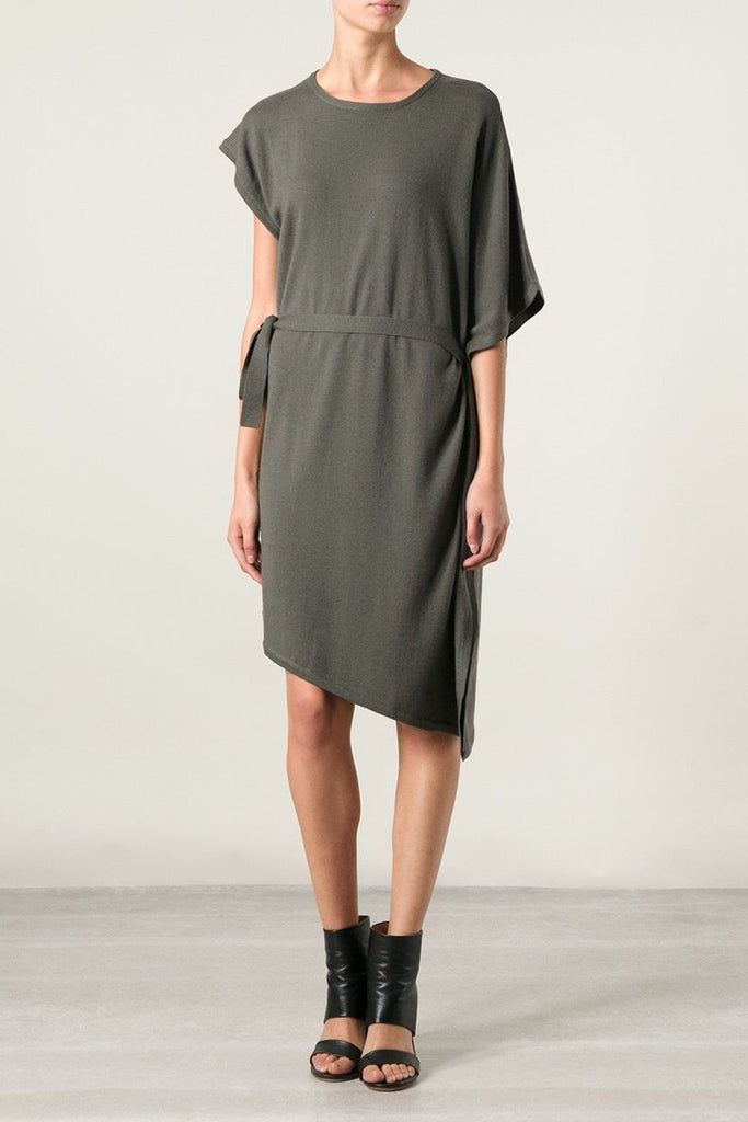 UNCONDITIONAL Black merino knit asymetrical fin dress